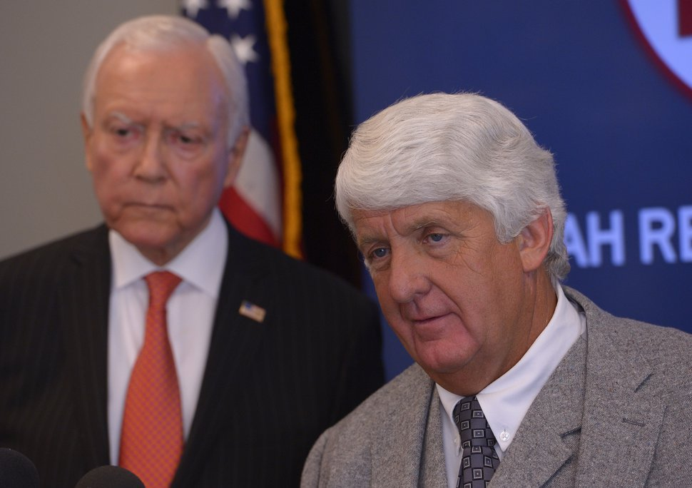 Leah Hogsten | The Salt Lake Tribune Senators Orrin Hatch and Representative Rob Bishop appear on behalf of GOP congressional candidate Mia Love at the Utah Republican Party headquarters, October 22, 2014.