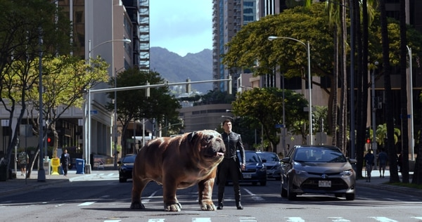 "(Credit: ABC/Marvel) Lockjaw the CGI dog and Blackbolt (Anson Mount) in ""Marvel's Inhumans."""