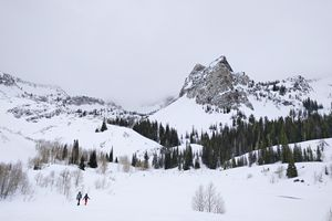 (Lennie Mahler | The Salt Lake Tribune) Sundial Peak overlooks Lake Blanche in Big Cottonwood Canyon on Tuesday, Feb. 21, 2017. Neither snow nor sun keeps hikers from enjoying the beauty of one of the most iconic hikes on the Wasatch Front.