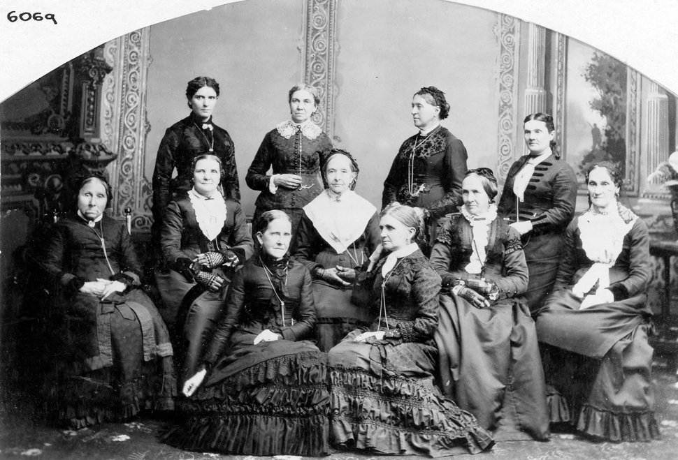 photo courtesy Utah State Historical Society This photo shows the Board of Directors of the Deseret Hospital. Many of the women in this photo participated in an 1870 meeting defending polygamy. The meeting was referred to as the