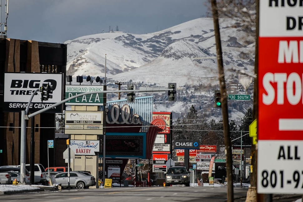 (Trent Nelson | The Salt Lake Tribune) Businesses along Highland Drive in Millcreek on Monday Dec. 3, 2018. The newly incorporated city of Millcreek is pushing on all fronts to create a new downtown center, including designating large swathes of land along its stretch of Highland Drive as blighted so it can use eminent domain to condemn and improve private properties if it wants.