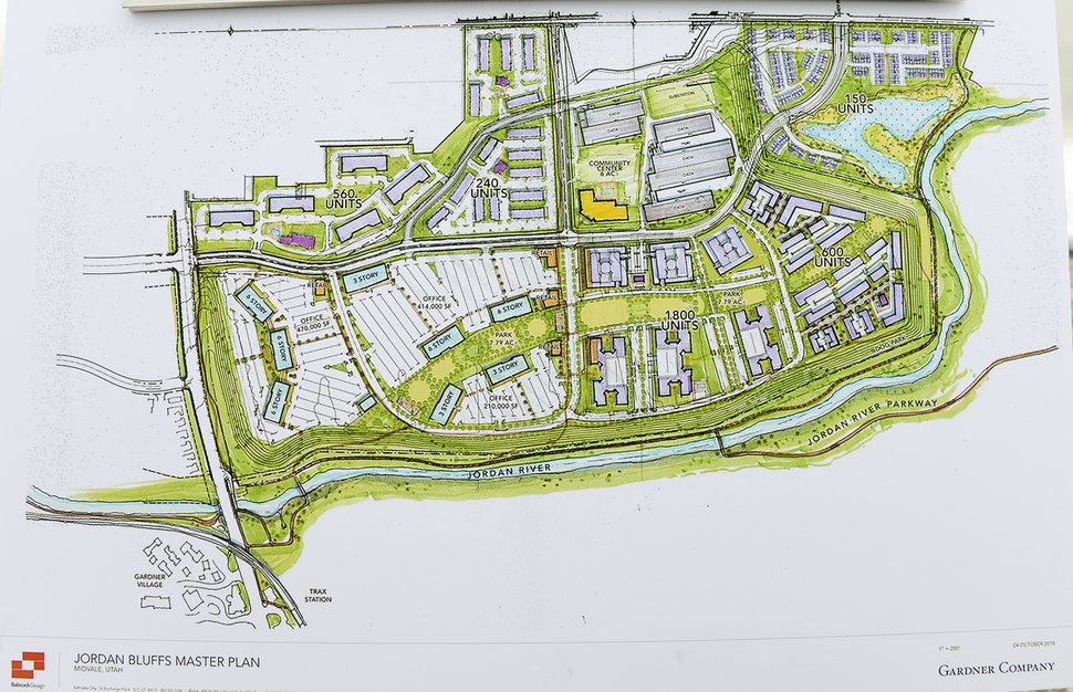 (Leah Hogsten | The Salt Lake Tribune) Jordan Bluffs redevelopment master plan, Monday, Oct. 22, 2018. Jordan Bluffs is moving forward with the View 72, Phase II development in Midvale. The 265-acre parcel will be comprised of mixed-use development on the former Sharon Steel superfund industrial site.