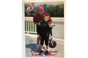 (Photo courtesy of the Wilson family) BYU quarterback Zach Wilson with current Utah football coach Kyle Whittingham at a Utah camp in 2007.