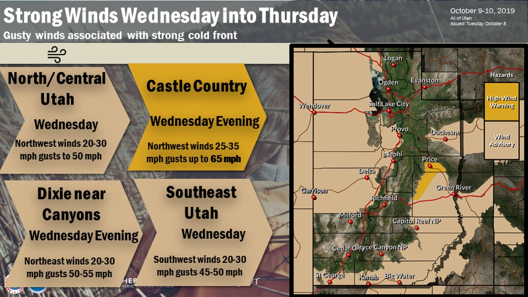 High winds, and maybe snow, are in Utah's forecast