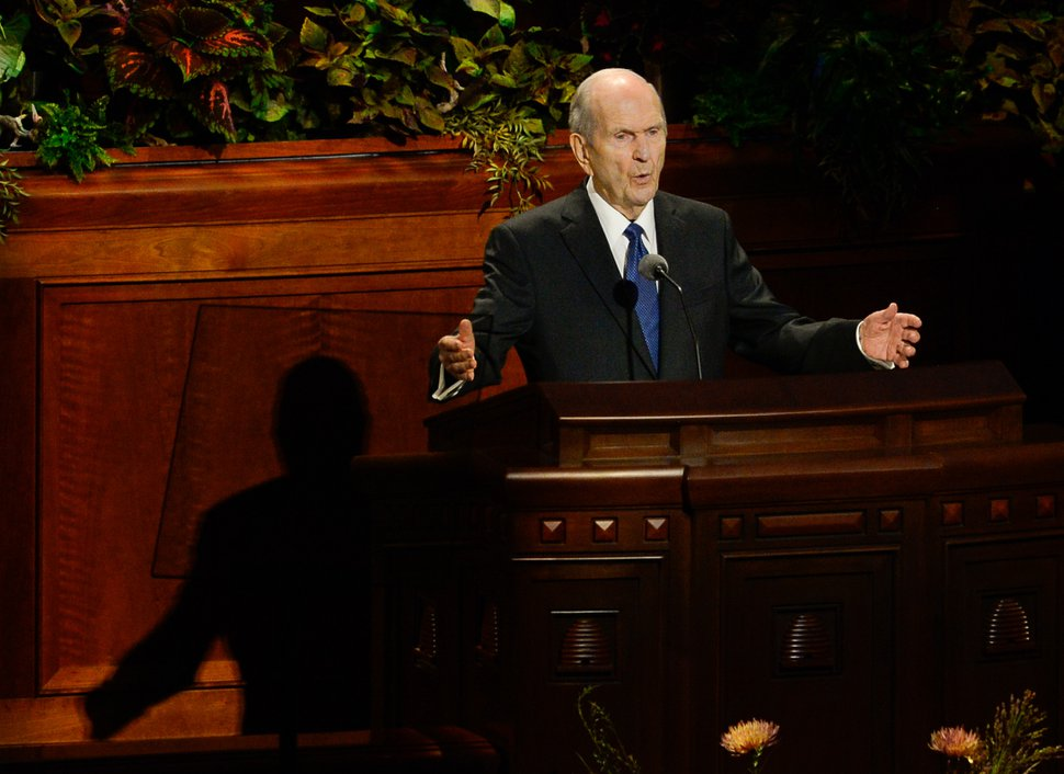 (Francisco Kjolseth | The Salt Lake Tribune) President Russell M. Nelson speaks during the Sunday morning session of the 189th Semiannual General Conference of The Church of Jesus Christ of Latter-day Saints at the Conference Center in Salt Lake City on Sunday, Oct. 6, 2019.
