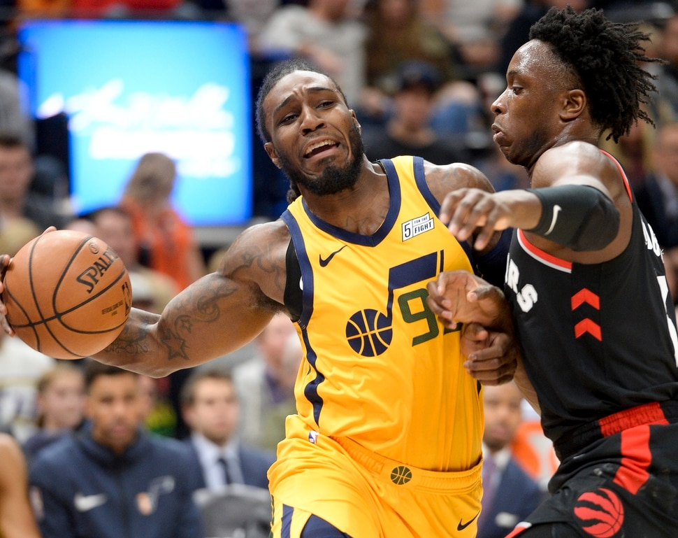 Leah Hogsten | The Salt Lake Tribune Utah Jazz forward Jae Crowder (99) battles Toronto Raptors forward OG Anunoby (3) as the Utah Jazz host the Toronto Raptors, Monday, Nov. 5, 2018 at Vivint Smart Home Arena.