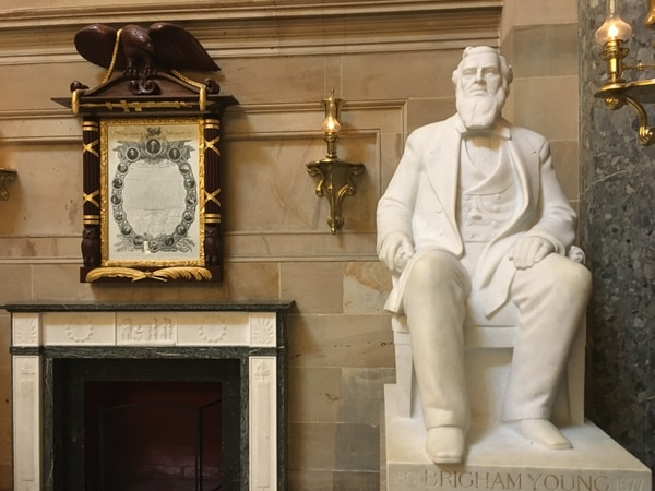 (Thomas Burr | The Salt Lake Tribune) A statue of Brigham Young, who led the Mormon pioneers to the Salt Lake Valley, is one of two statues of Utahns in the U.S. Capitol. The other pays tribute to Philo T. Farnsworth.