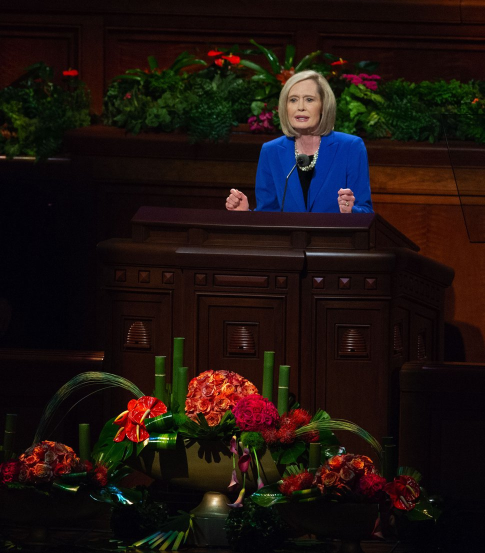 (Keith Johnson | Special to The Tribune) Sister Bonnie H. Cordon, Young Women General President, speaks during the 188th Semiannual General Conference of The Church of Jesus Christ of Latter-day Saints on Oct. 7, 2018 in Salt Lake City.
