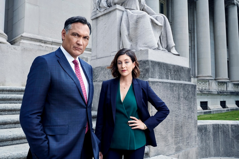 "(Photo courtesy of Paul Gilmore | NBC) Jimmy Smits and Caitlin McGee star in ""Bluff City Law."""