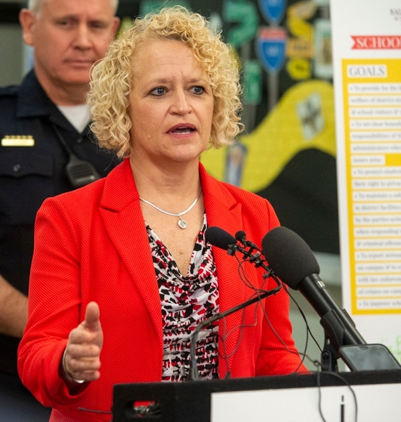 (Rick Egan | The Salt Lake Tribune) Salt Lake City Mayor Jackie Biskupski announces a new school resource officer initiative at West High School, Tuesday, March 26, 2019.