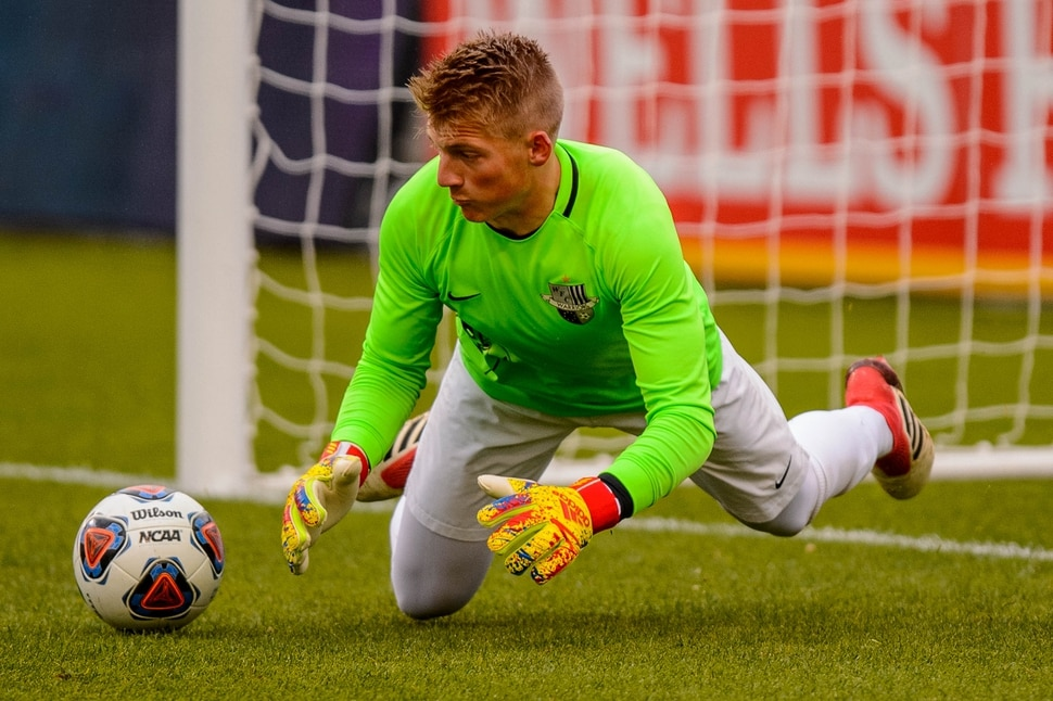 (Trent Nelson | The Salt Lake Tribune) Weber's Charles Wheelwright makes a save as Weber faces Copper Hills High School in the 6A boys state championship game at Rio Tinto Stadium in Sandy, Thursday May 23, 2019.