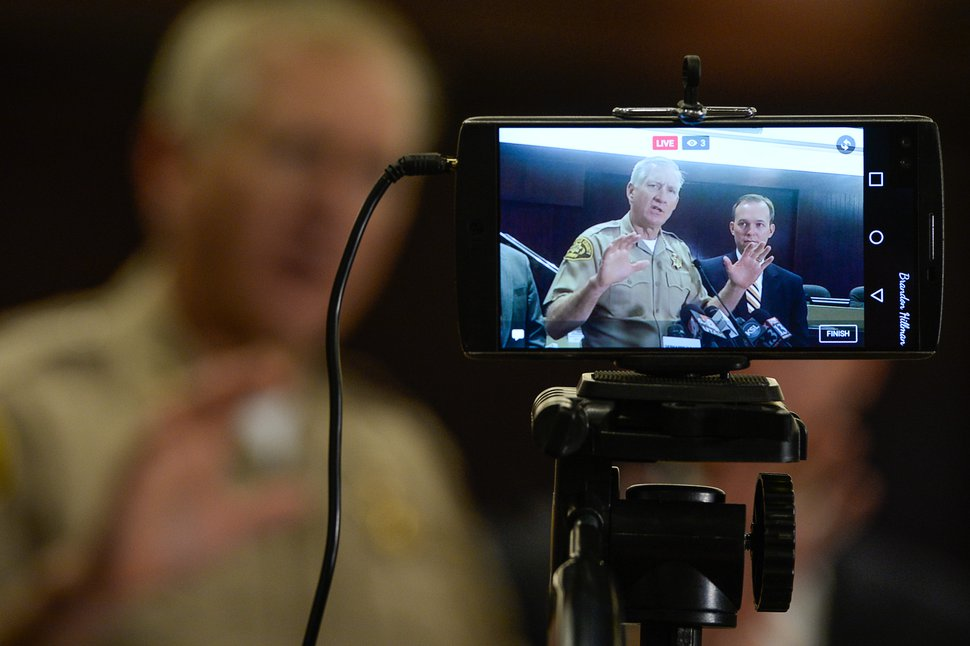 (Francisco Kjolseth | The Salt Lake Tribune) Then-Salt Lake County Sheriff Jim Winder is projected on a live stream as county and state leaders discuss steps to address the public safety crisis currently in the Rio Grande area of Salt Lake City during a press event at the Salt Lake County Government Center in Salt Lake on Monday, May 1, 2017.
