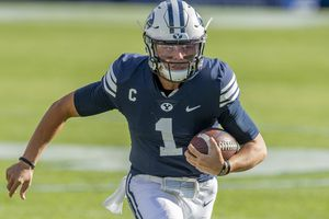 (Rick Egan  |  The Salt Lake Tribune)    Brigham Young quarterback Zach Wilson (1) runs the ball for the Cougars, in football action between the Brigham Young Cougars and the UTSA Roadrunners, at Lavell Edwards stadium, Saturday, Oct. 10, 2020.
