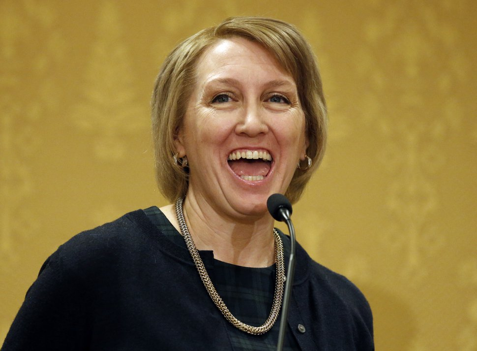 (Rick Bowmer | AP file photo) In this Jan., 7, 2019, photo, Rep. Karianne Lisonbee, R-Clearfield, speaks during the Utah Taxpayers Association 2019 legislative outlook conference.,