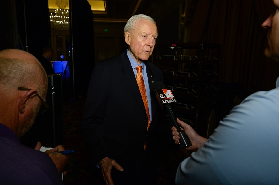 (Francisco Kjolseth | The Salt Lake Tribune) Utah Senator Orrin Hatch answers questions about the phone call he had just taken from President Donald Trump telling him he would approve a recommendation to trim the boundaries of the Bears Ears National Monument on Friday, Oct. 27, 2017.