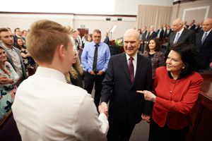 (Courtesy LDS Church) LDS Church President Russell M. Nelson and his wife, Wendy Nelson, greet young adults at a fireside in Las Vegas on Feb. 17, 2018.