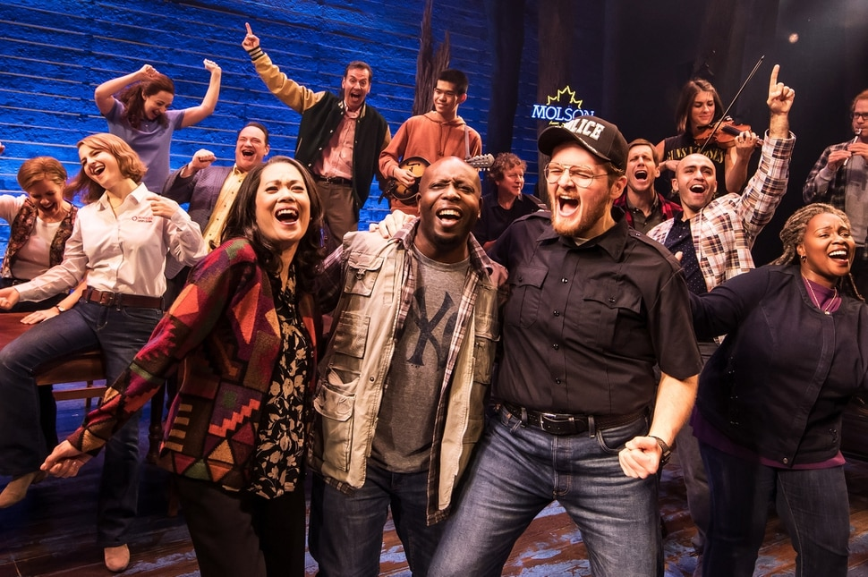 (Matthew Murphy | photo courtesy Broadway at the Eccles) The ensemble of the national tour of the Broadway musical Come From Away, which will play at Salt Lake City Eccles Theater, Nov. 6-11, 2018.