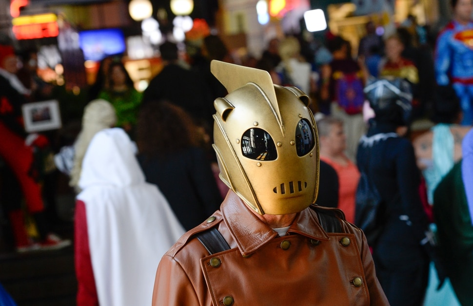 (Francisco Kjolseth | The Salt Lake Tribune) Bill Love as the Rocketeer joins FanX's twice-annual press conference, drawing cosplayers to Megaplex Jordan Commons in Sandy on Wed. June 12, 2019, for the announcement of the event's celebrity visitors.
