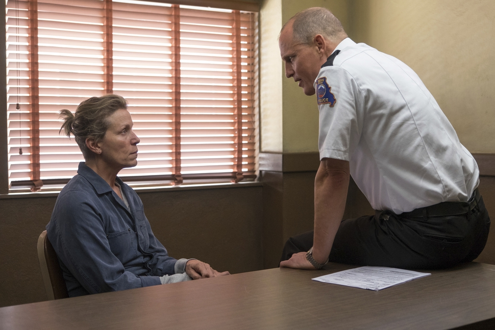 This image released by Fox Searchlight shows Frances McDormand, left, and Woody Harrelson in a scene from Three Billboards Outside Ebbing, Missouri. (Fox Searchlight via AP)