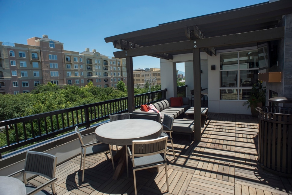 (Rick Egan | The Salt Lake Tribune) Roof top deck at Alta Gateway Station located at 505 West 100 South, is the first LEED Platinum certification for a multifamily apartment building in Utah. Wednesday, June 20, 2018.