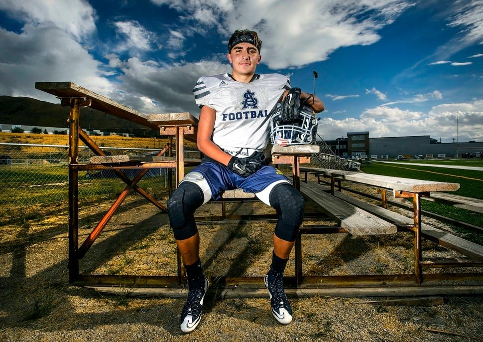(Steve Griffin   The Salt Lake Tribune) Summit Academy's Gavin Davey sits on a wooden bleacher on the school's football field in Bluffdale, Utah Wednesday September 13, 2017.