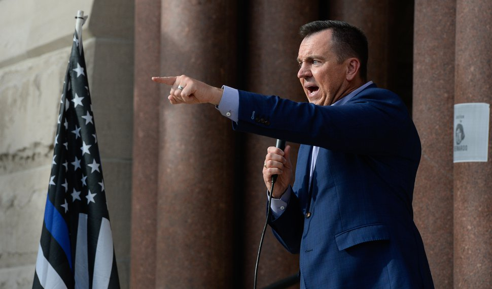 (Francisco Kjolseth | Tribune file photo) Former House Speaker Greg Hughes speaks before a few hundred at a rally in support of police at City Hall in Salt Lake City on Saturday, June 20, 2020. Hughes conceded in the race for governor of Utah after finishing third.