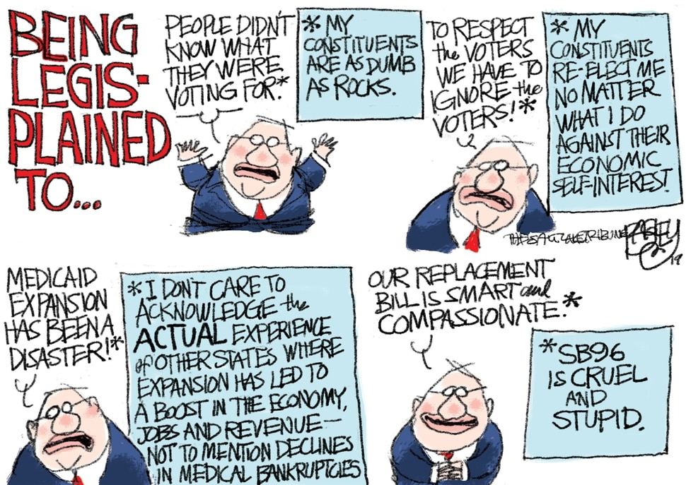 This Pat Bagley cartoon appears in The Salt Lake Tribune on Sunday, Feb. 10, 2019.