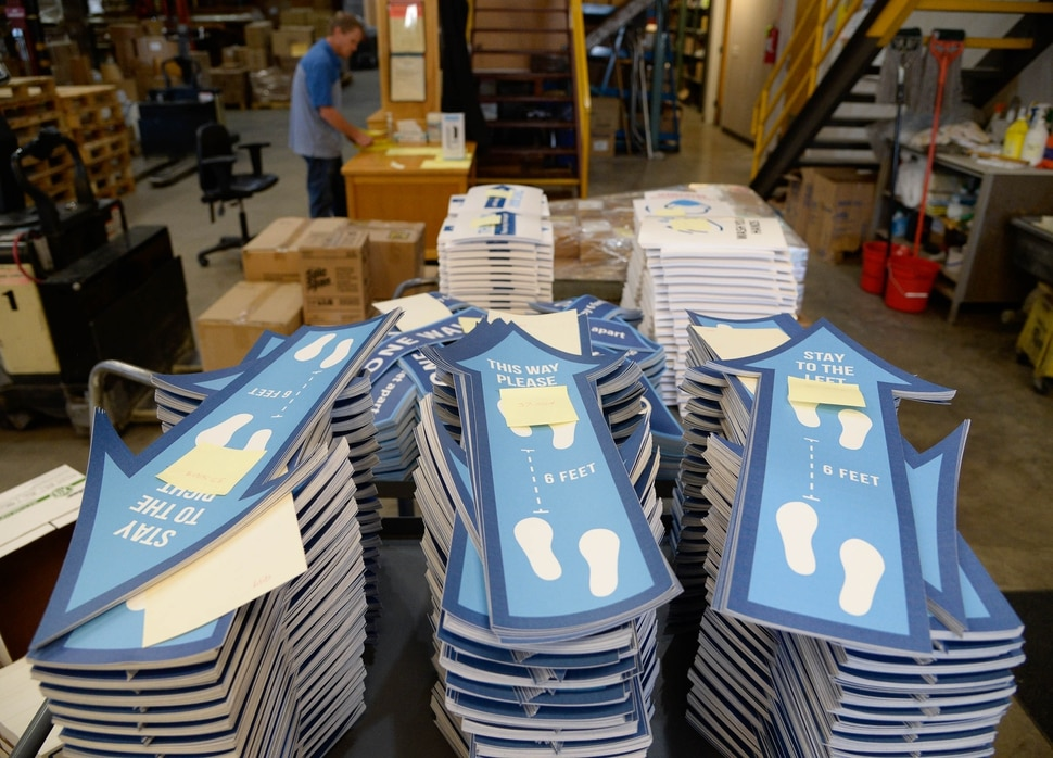 (Francisco Kjolseth | The Salt Lake Tribune) The Granite school district prepares for the start of classes next week as crews assemble and ship PPE supplies and safety stickers to schools from the Granite School District Warehouse on Tuesday, August 18, 2020.