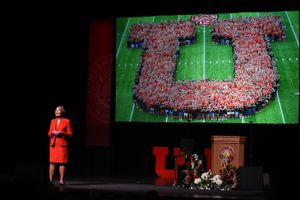 (Francisco Kjolseth | Tribune file photo) In this file photo, University of Utah President Ruth Watkins addresses the crowd during her inauguration, Sept. 21, 2018. With Watkins now stepping down in April 2021, the Legislature is contemplating how transparent the school must be in searching for her replacement.