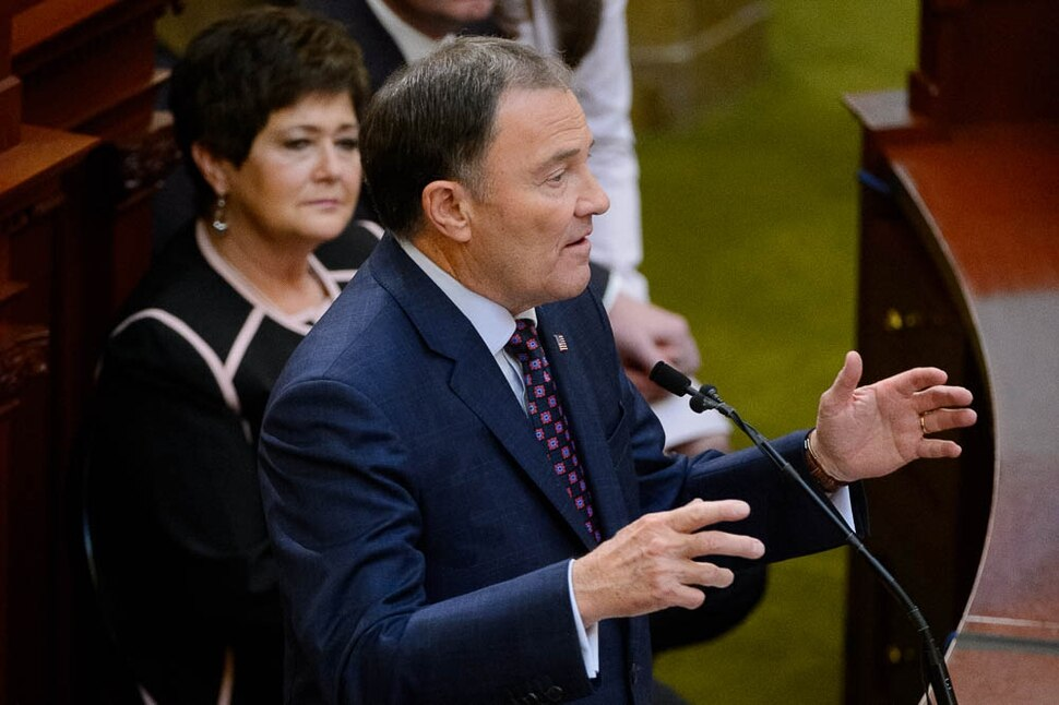(Trent Nelson | The Salt Lake Tribune) Governor Gary Herbert delivers his State of the State address at the Utah Capitol in Salt Lake City on Wednesday Jan. 30, 2019.