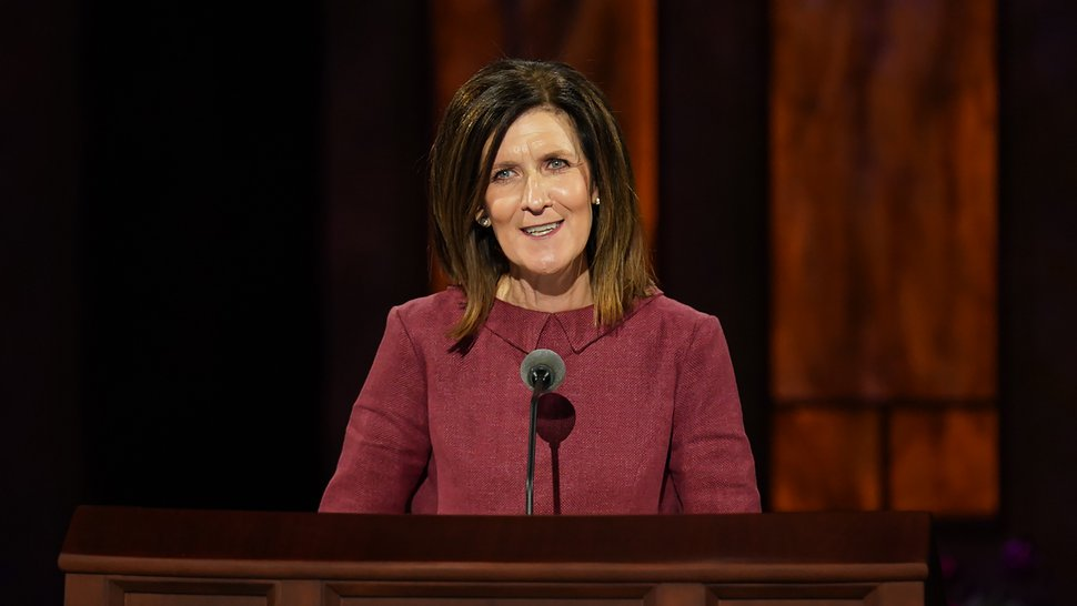 (Photo courtesy of The Church of Jesus Christ of Latter-day Saints) Michelle D. Craig speaks at the Saturday morning session of the October 2020 General Conference.