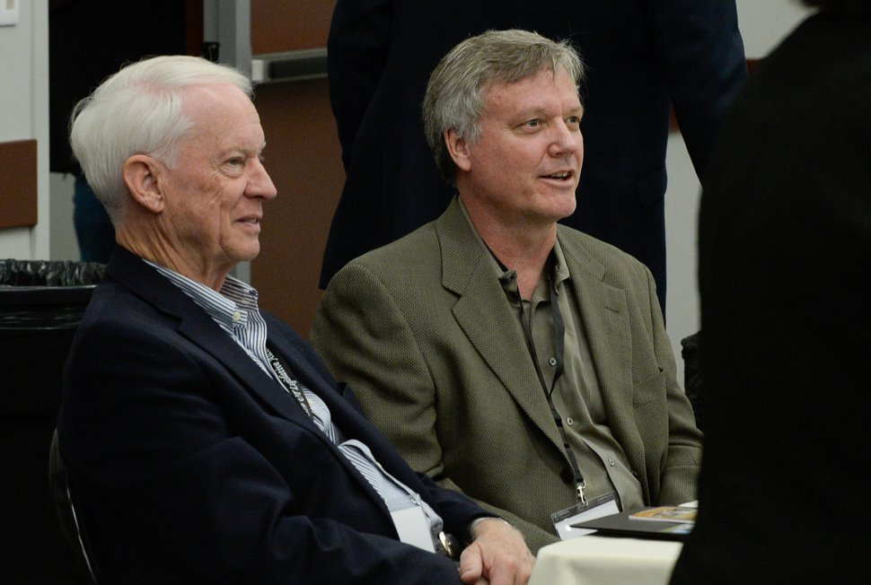 (Francisco Kjolseth | The Salt Lake Tribune) John T. Nielsen, chair of the DABC Commission, left, sits with Peter Erickson, co-owner of Epic Brewing Co., as they attend the Utah Legislative Alcohol Policy Summit at the Utah Capitol on Friday, Oct. 18, 2019. The conference brings together state and national leaders who try to create laws and policies that balance consumer demands for alcohol while also trying to avoid societal costs of underage drinking, overconsumption and misuse.