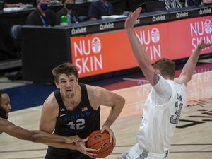 (Rick Egan | The Salt Lake Tribune) Brigham Young center Richard Harward (42), pictured in a game against Weber State at Vivint Arena on Dec. 23, scored 13 points and pulled down 11 rebounds off the bench in the Cougars' 72-63 victory over San Francisco on Saturday, Jan. 16, 2021.