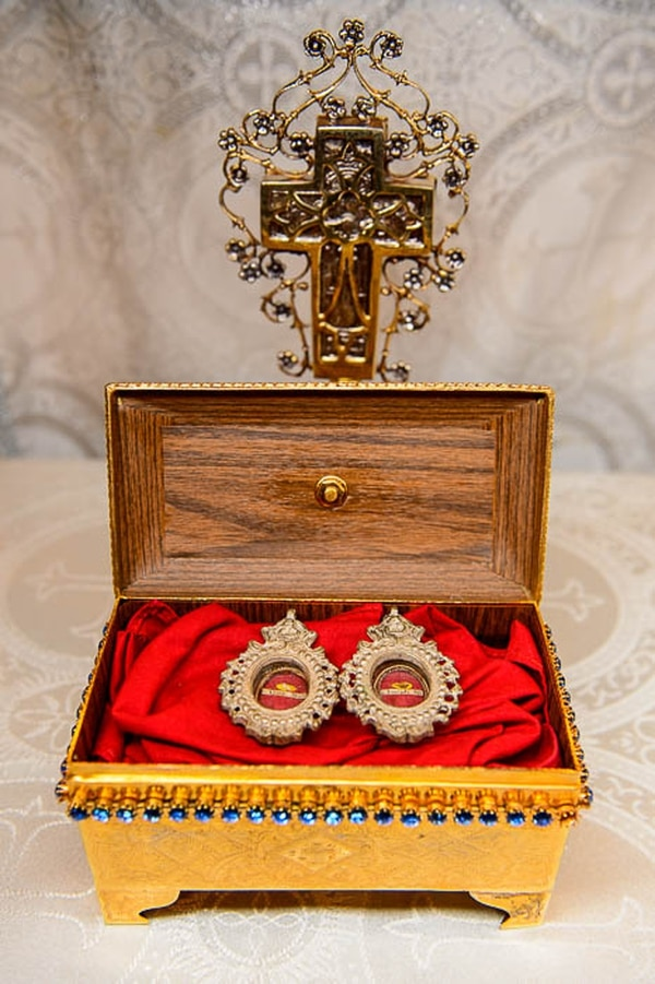 (Trent Nelson | The Salt Lake Tribune) A relic from Anna, the mother of Mary, and a relic from St. Joseph at St. Anna Greek Orthodox Church in Cottonwood Heights, Friday, Aug. 3, 2018.