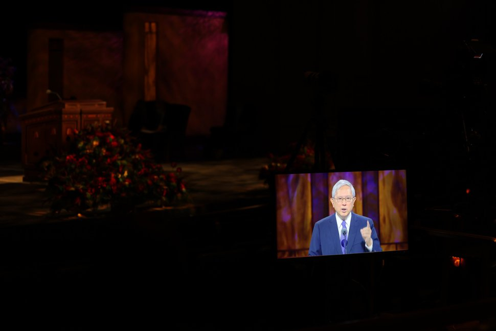 (Photo courtesy of The Church of Jesus Christ of Latter-day Saints) Apostle Gerrit W. Gong's General Conference sermon was prerecorded and played during the Saturday afternoon session Oct. 3, 2020.
