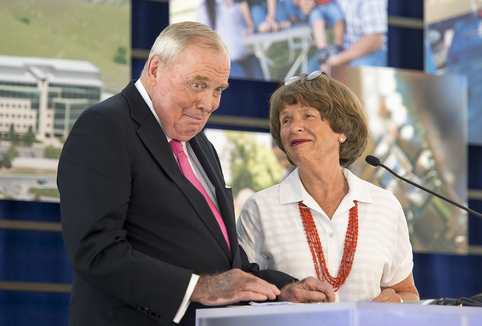 Leah Hogsten | The Salt Lake Tribune Huntsman Cancer Institute (HCI) founder and cancer survivor Jon M. Huntsman Sr. and Karen Huntsman share a smile during the ceremony, which falls on his 80th birthday. Huntsman Cancer Institute (HCI) dedicated the Primary ChildrenÕs and FamiliesÕ Cancer Research Center, a world-class facility dedicated to advancing cancer research and patient care, June 21, 2017.