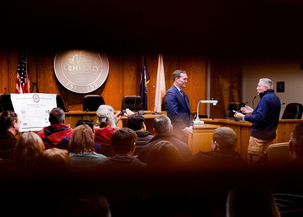 Leah Hogsten | The Salt Lake Tribune Congressman Ben McAdams met with his constituents in Utah County during his second town hall at Lehi City Council chambers, Feb. 19, 2019 to answer their questions and concerns.
