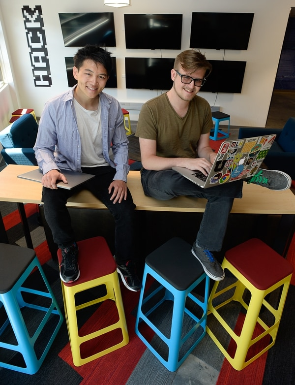 (Francisco Kjolseth | The Salt Lake Tribune) Aaron Hsu, left, and Kepler Sticka-Jones hope to launch Blurp, a platform for sharing soundbites, into a successful business. The two make up some of the startup teams at the University of Utah's Lassonde Entrepreneur Institute's Summer program.