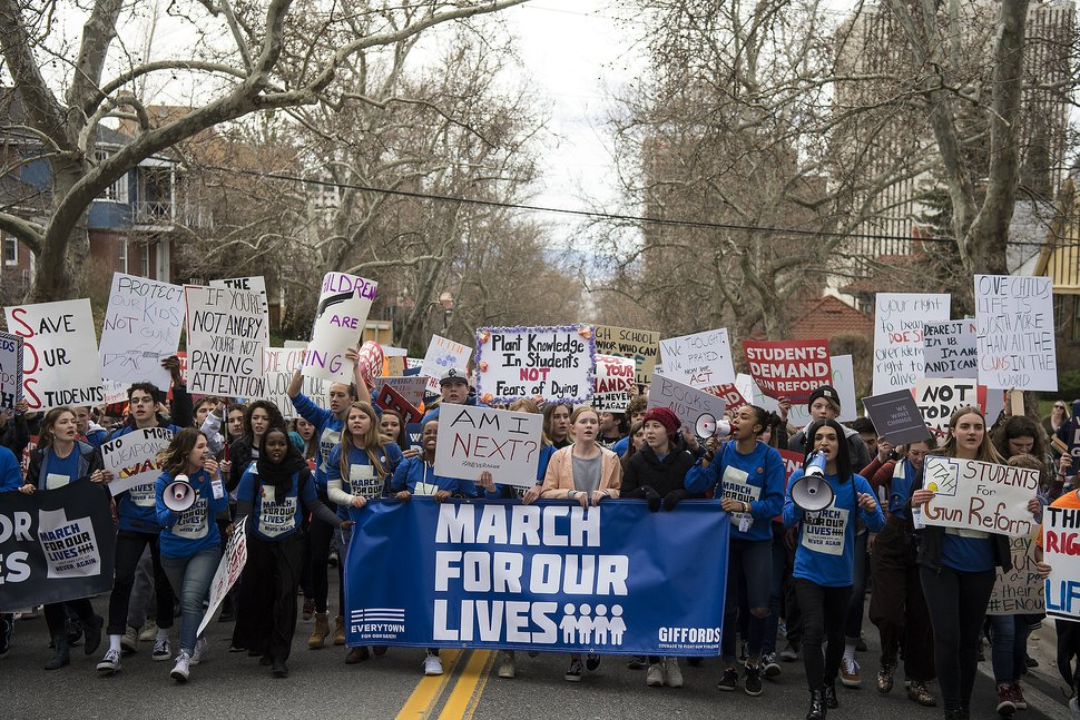 (Chris Detrick   The Salt Lake Tribune) Participants march from West High School to the state Capitol during the March for Our Lives SLC Saturday, March 24, 2018. The student-led March for Our Lives SLC got underway about 11:30 a.m. with what police estimated were 8,000 participants walking from Salt Lake City's West High School to the front steps of the Capitol.