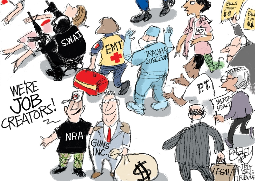 (Pat Bagley | The Salt Lake Tribune) This Pat Bagley cartoon called Guns Create Jobs appears in The Salt Lake Tribune on Wednesday, Nov. 14, 2018.