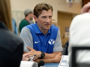 (Francisco Kjolseth  |  The Salt Lake Tribune)  Pass game coordinator Aaron Roderick is interviewed by the media as BYU hosts their eighth-annual football media day at the BYU-Broadcasting Building on Friday, June 22, 2018.