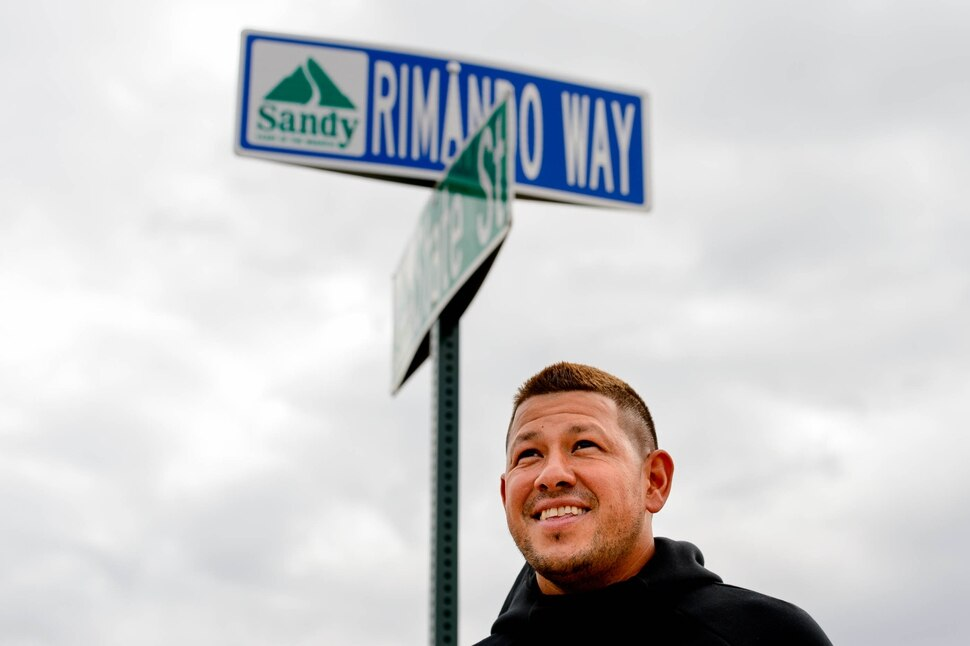 (Trent Nelson | The Salt Lake Tribune) Real Salt Lake goalkeeper Nick Rimando stands at the corner of the newly-named Rimando Way in Sandy on Friday Sept. 27, 2019.