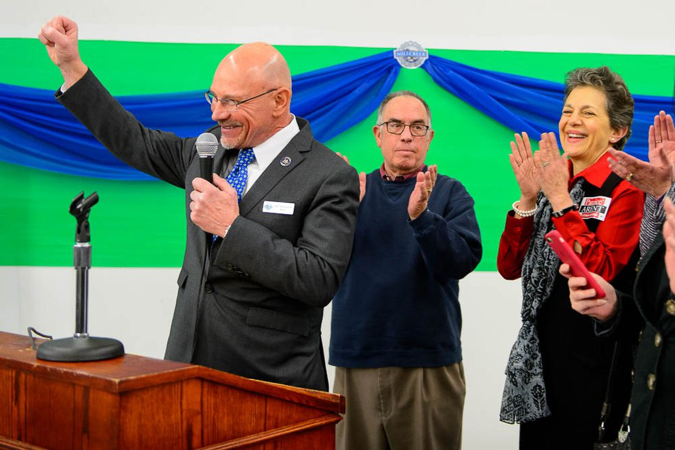 (Trent Nelson | Tribune file photo) Millcreek Mayor Jeff Silvestrini, left, speaks as the City of Millcreek celebrates its first birthday party and grand opening of its City Hall, Wednesday January 10, 2018. With him are the late Salt Lake County Councilman Sam Granato and Rep. Patrice Arent, D-Millcreek.