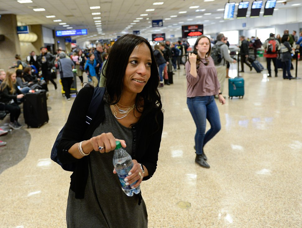 "(Francisco Kjolseth | The Salt Lake Tribune) Rep. Mia Love arrives at Salt Lake International airport on Thursday, Jan. 11, 2018. Love, a Utah Republican and the only Haitian-American in Congress, called on President Donald Trump to apologize after reports said he questioned why the United States was allowing immigrants from ""s---hole countries"" like Haiti, El Salvador and African nations."