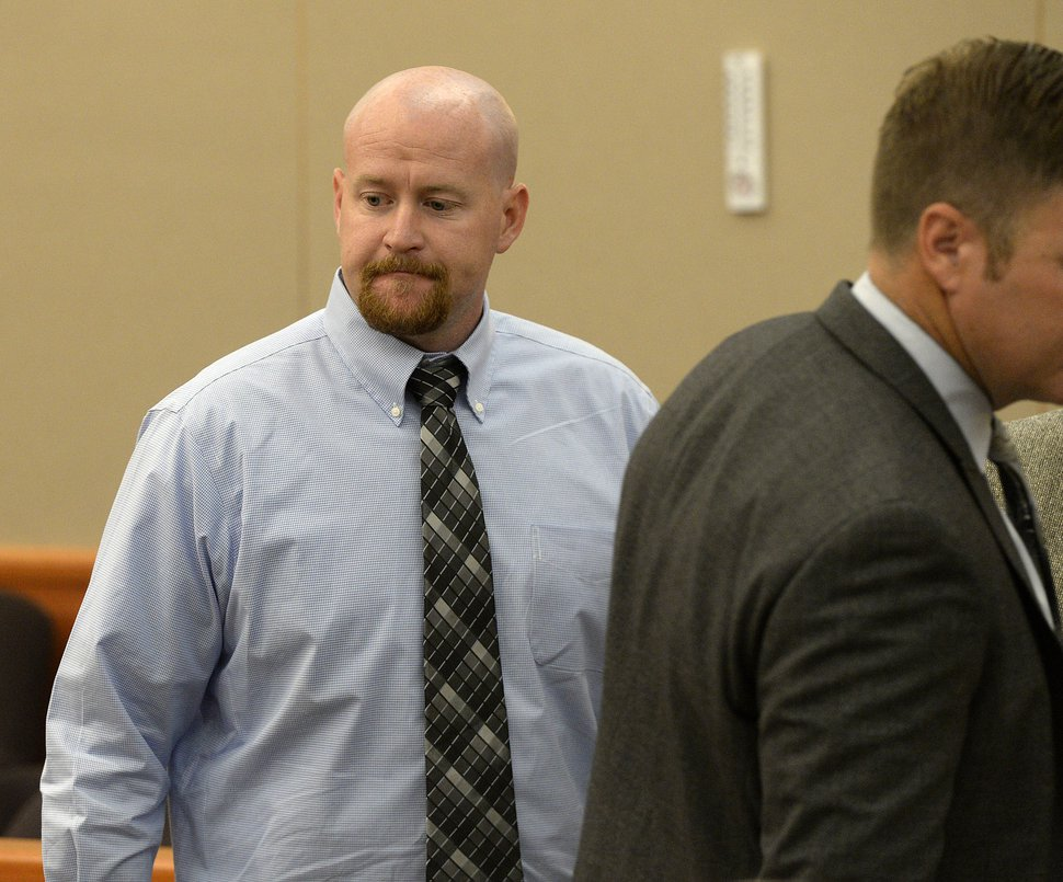 Al Hartmann | The Salt Lake Tribune Deputy Joshua Cox appears in Third District Court in Park City Monday July 17 before Judge Kent Holmberg. He along with former Daggett County Sheriff Jerry Jorgensen and former jail commander Lt. Benjamin Lail are up on charges connected to the abuse of jail inmates at the Daggett County jail.