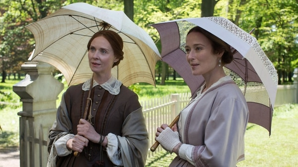 (Courtesy Music Box Films) Emily Dickinson (Cynthia Nixon, left) and her sister Lavinia, aka Vinnie (Jennifer Ehle), walk around Amherst, Mass., in a scene from the biographical drama