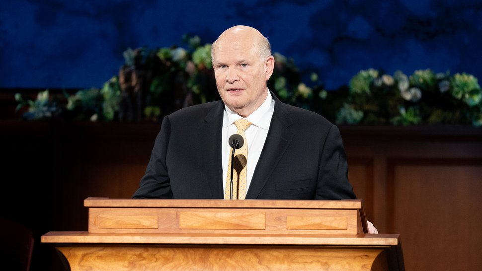 (Photo courtesy of The Church of Jesus Christ of Latter-day Saints) Apostle Dale G. Renlund speaks Saturday, April 4, 2020.
