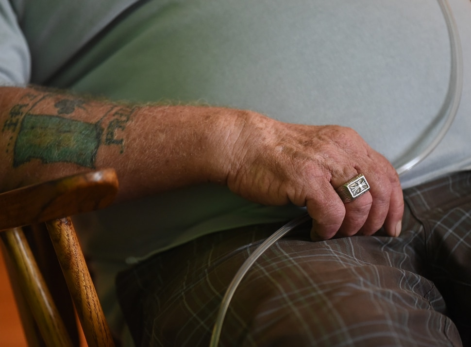 (Francisco Kjolseth | The Salt Lake Tribune) Darwin Osborn, 64, is a Vietnam veteran who was homeless and searched for housing for over a year before landing a one-bedroom apartment in April 2019. He talks about the trajectory of his life during a visit to his new apartment. Osborn was housed with a VASH voucher and additional barrier removal support through additional funding provided by the state's 100 More Housed initiative.