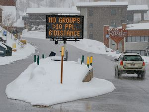 (Francisco Kjolseth  |  The Salt Lake Tribune) A sign at Alta Ski Resort encourages people to social distance in the wake of the coronavirus pandemic on Wednesday, March 25, 2020.  A group of MIT students analyzed several lodges in town and parts of the ski area to determine where guests are most at risk for catching the virus and how decrease their odds.