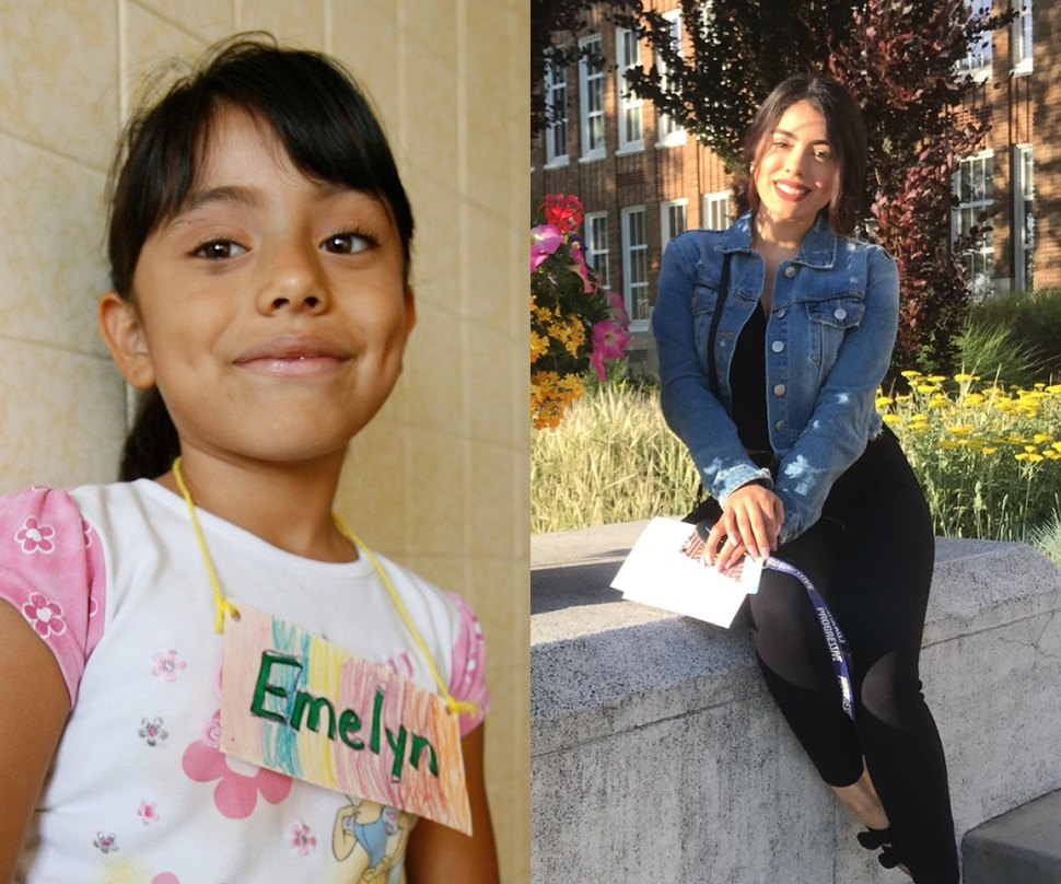 Emelyn Vasquez as a first grader at Orchard Elementary School in West Valley in 2007 and today.